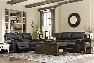 Milhaven Reclining Sofa, Black, large