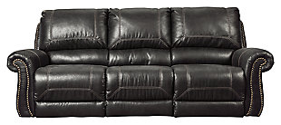 Milhaven Power Reclining Sofa, Black, large