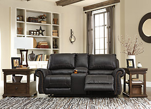 Milhaven Reclining Loveseat with Console, Black, large