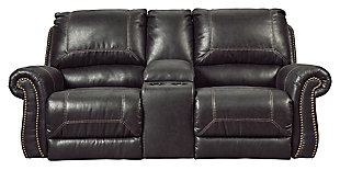 Milhaven Power Reclining Loveseat with Console, Black, large