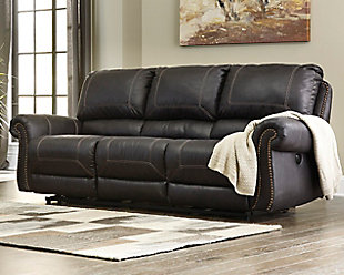 Milhaven Power Reclining Sofa, Black, rollover
