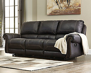 Milhaven Reclining Sofa, Black, rollover