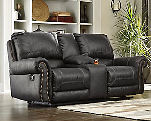 Milhaven Reclining Loveseat with Console, Black, rollover