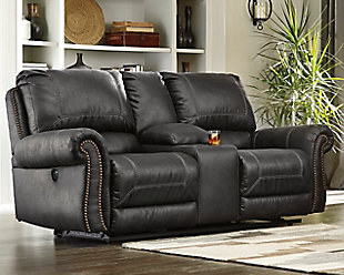 Milhaven Power Reclining Loveseat with Console, Black, rollover