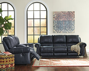 Milhaven Power Reclining Sofa, Navy, large