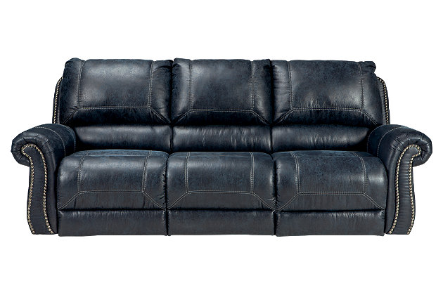 Milhaven Reclining Sofa, Navy, large
