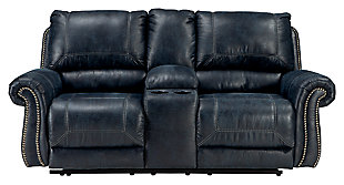 Milhaven Reclining Loveseat with Console, Navy, large