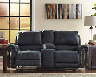 Milhaven Reclining Loveseat with Console, Navy, rollover
