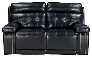 Graford Power Reclining Loveseat, Navy, large