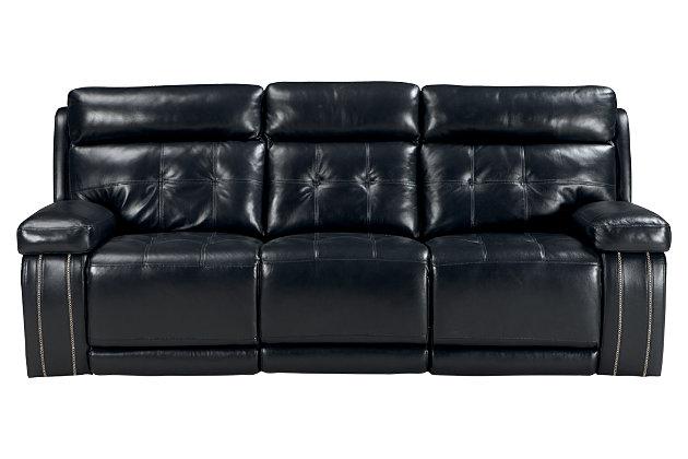 Graford Power Reclining Sofa, Navy, large