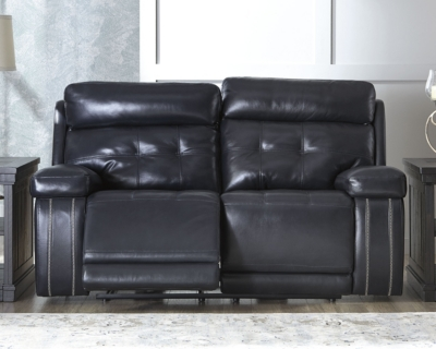 Design Reclining Loveseat Navy Leather Power Product Photo