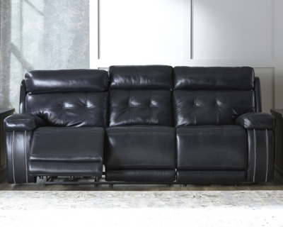 Stylish Reclining Sofa Navy Leather Power Product Photo