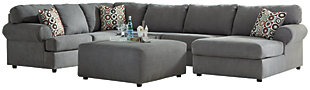 Jayceon 3-Piece Sectional with Ottoman, Steel, large