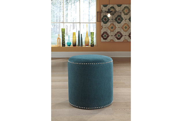 Teal Revel Ottoman by Ashley HomeStore, Polyester/Nylon