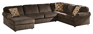 Vista 3-Piece Sectional with Chaise, Chocolate, large