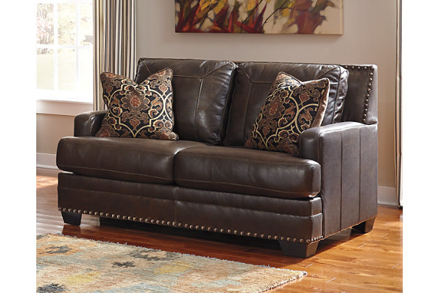 Corvan Loveseat by Ashley HomeStore, Brown, Leather (100 %)
