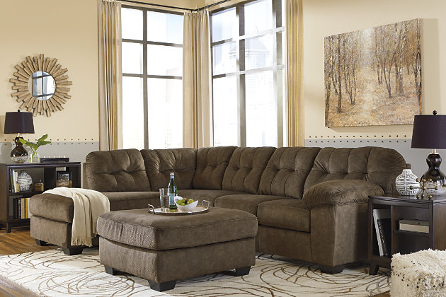 Accrington 2-Piece Sectional with Ottoman, Earth, large