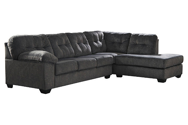 Accrington 2-Piece Sectional with Ottoman, Granite, large