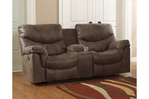 gunsmoke alzena reclining loveseat with console view 1