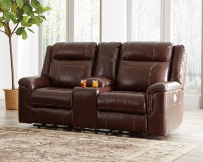 Reclining Loveseat Console Coffee Leather Power Product Photo 210