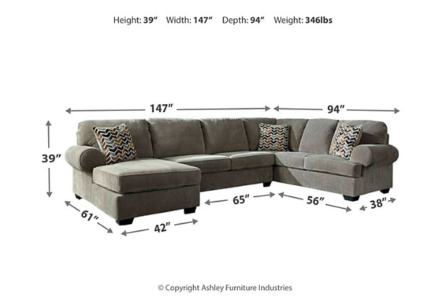 Jinllingsly 3-Piece Sectional with Chaise, Gray, large