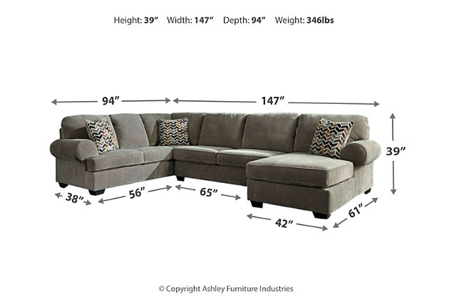 Jinllingsly 3-Piece Sectional, Gray, large