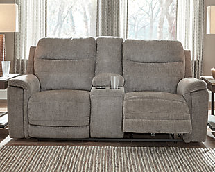 Mouttrie Power Reclining Loveseat with Console, , rollover