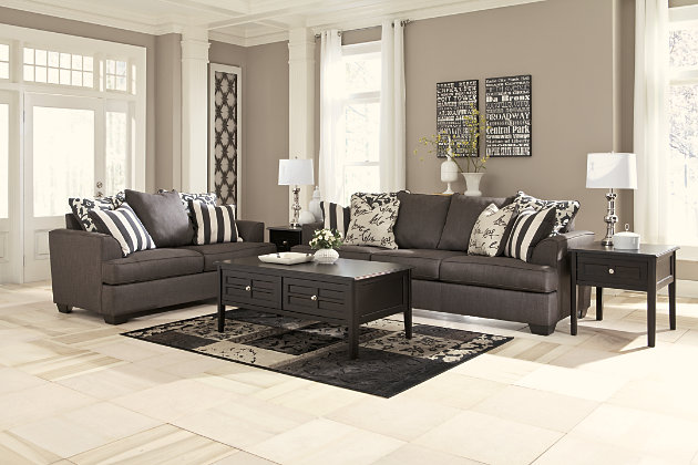 This Grey Couch And Loveseat Set Is Inspired By Tailored Menswear