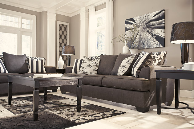 Distinctive Pillow Back Gray Couch And Loveseat Set