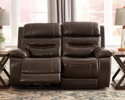 Reclining Loveseat Dark Brown Leather Power Product Photo 380