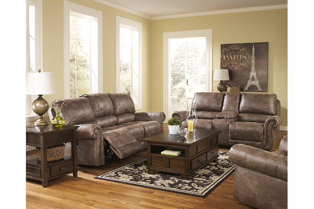 double stitching and studded nailhead trim accent this brown reclining sofa and loveseat with matching swivel  sc 1 st  Ashley Furniture HomeStore & Oberson Reclining Loveseat with Console | Ashley Furniture HomeStore islam-shia.org