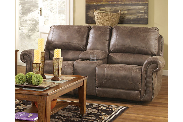 Home; Oberson Reclining Loveseat with Console. Living room decorating idea with this furniture  sc 1 st  Ashley Furniture HomeStore & Oberson Reclining Loveseat with Console | Ashley Furniture HomeStore islam-shia.org