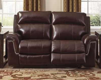Special Reclining Loveseat Burgundy Leather Power Product Photo