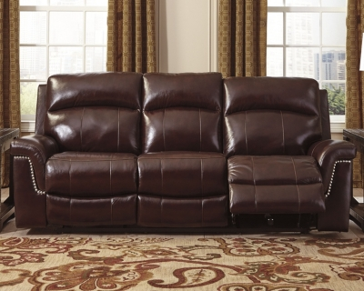 Reclining Sofa Burgundy Leather Power Product Photo