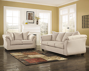 Large Darcy Sofa And Loveseat Stone Rollover