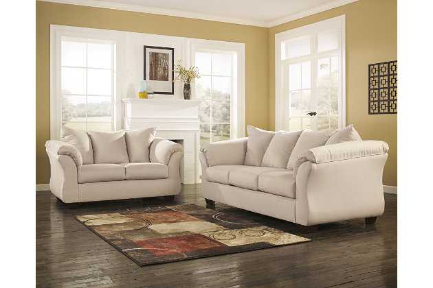 White Couch And Stone White Loveseat With Pillow Back Cushioning Part 24