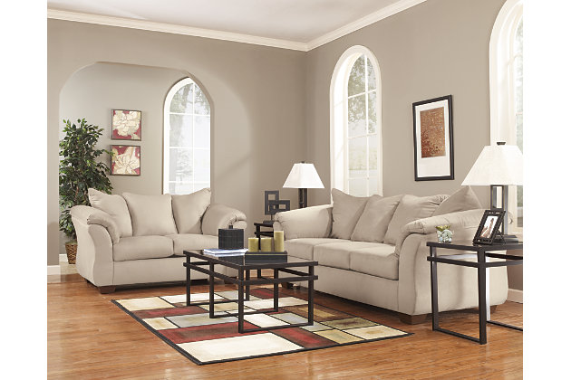 plush pillow back designed love seat and white sofa. Darcy Sofa   Ashley Furniture HomeStore