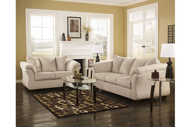 White Love Seat And Couch With Plush Pillow Back