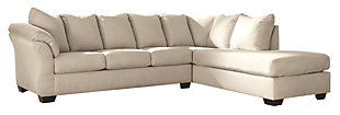 Darcy 2-Piece Sectional with Chaise and Sleeper, Stone, large