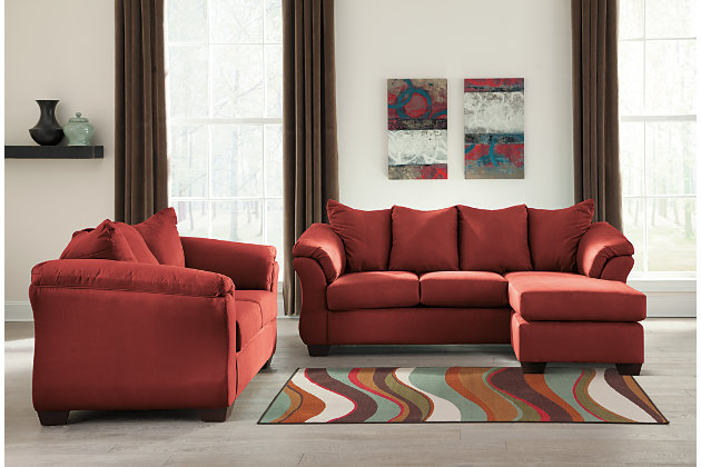 Darcy Sofa Chaise & Loveseat, Salsa, large
