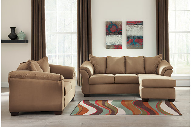 Darcy Sofa Chaise & Loveseat, Mocha, large