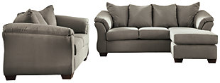 Darcy Sofa Chaise & Loveseat, Cobblestone, large