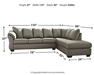 Darcy 2-Piece Sectional with Chaise, Cobblestone, large