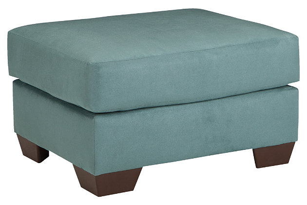 Blue Darcy Ottoman by Ashley HomeStore, Polyester (100 %)