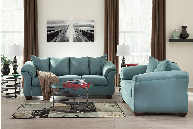Blue Darcy Loveseat by Ashley HomeStore, Polyester (100 %)