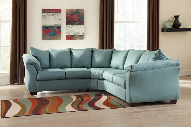 blue contemporary sectional sofa with flared armrests and pillow back : ashley darcy sectional - Sectionals, Sofas & Couches