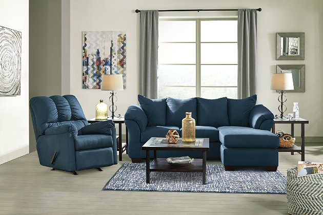 Darcy Sofa Chaise & Loveseat, Blue, large