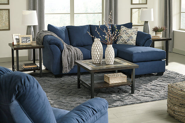 Darcy Sofa Chaise, Blue, large