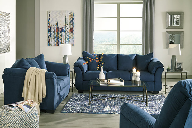 Darcy Loveseat, Blue, large