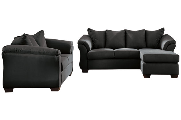 Darcy Sofa Chaise and Loveseat, Black, large